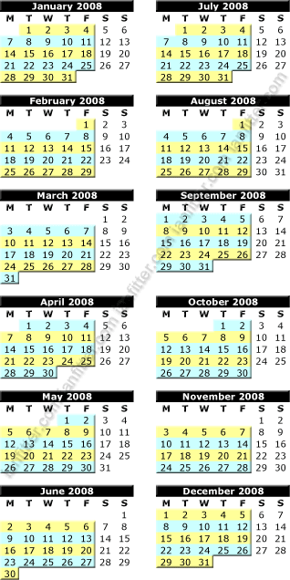 Bolton Recycling Calendar for 2008 showing blue and yellow weeks
