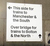 Clifton Junction Trains to Manchester Sign