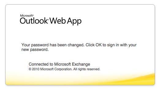 Outlook Web App missing OK