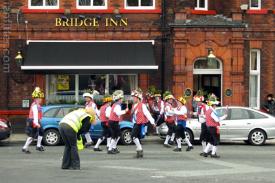 Saddleworth Morris Men outside the Bridge, Horwich
