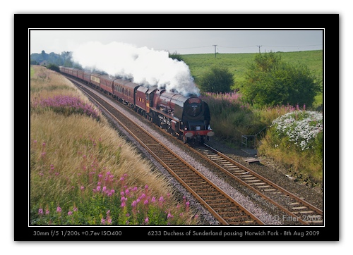 Duchess of Sutherland passes Horwich Fork SB with the Cumbrian Mountain Express (8th August 2009)