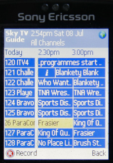 Sky Mobile TV Guide on a Sony Ericsson k750i